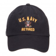 US Navy Retired Military Embroidered Washed Cap - Black