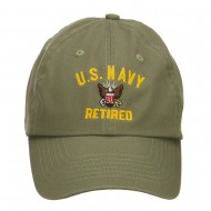 US Navy Retired Military Embroidered Washed Cap - Olive