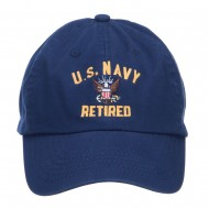 US Navy Retired Military Embroidered Washed Cap - Navy
