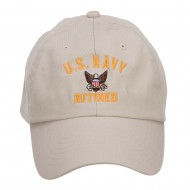 US Navy Retired Military Embroidered Washed Cap - Stone