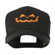 Halloween Jack O Lantern Face Embroidered Cap - Black
