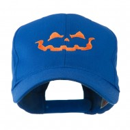 Halloween Jack O Lantern Face Embroidered Cap - Royal
