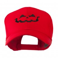 Halloween Jack O Lantern Face Embroidered Cap - Red