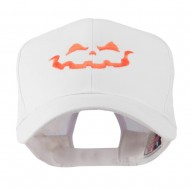 Halloween Jack O Lantern Face Embroidered Cap - White