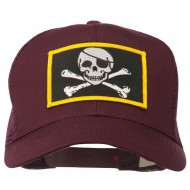 Jolly Roger Skull Patched Mesh Cap - Maroon
