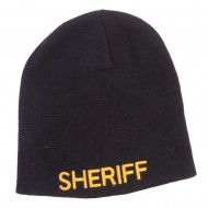 XL Size Sheriff Embroidered Cotton Beanie - Black