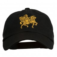 Knight on Horseback Embroidered Washed Cap - Black