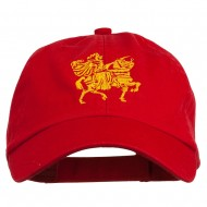 Knight on Horseback Embroidered Washed Cap - Red