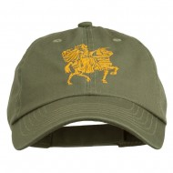 Knight on Horseback Embroidered Washed Cap - Olive