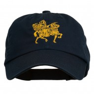 Knight on Horseback Embroidered Washed Cap - Navy