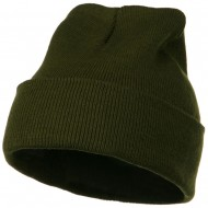 12 Inch Long Knitted Beanie - Olive