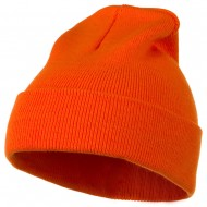 12 Inch Long Knitted Beanie - Orange