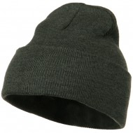12 Inch Long Knitted Beanie - Dark Grey