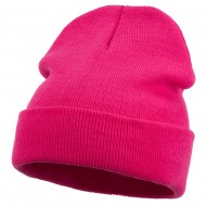12 Inch Long Knitted Beanie - Magenta