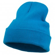 12 Inch Long Knitted Beanie - Aqua