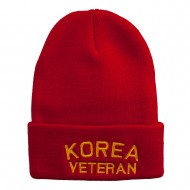 Korea Veteran Embroidered Long Knitted Beanie - Red
