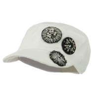 Knit Military Cap with Circle Motifs - White