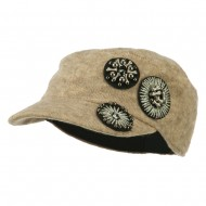 Knit Military Cap with Circle Motifs - Taupe