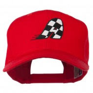 Checkered Flag Alphabet Embroidered Red High Profile Cap - A