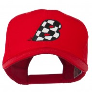 Checkered Flag Alphabet Embroidered Red High Profile Cap - B