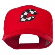 Checkered Flag Alphabet Embroidered Red High Profile Cap - C