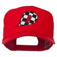 Checkered Flag Alphabet Embroidered Red High Profile Cap - D