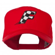 Checkered Flag Alphabet Embroidered Red High Profile Cap - F