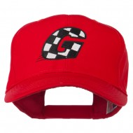 Checkered Flag Alphabet Embroidered Red High Profile Cap - G