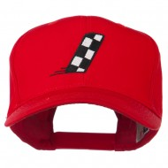 Checkered Flag Alphabet Embroidered Red High Profile Cap - I