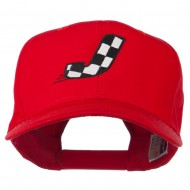 Checkered Flag Alphabet Embroidered Red High Profile Cap - J