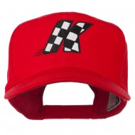 Checkered Flag Alphabet Embroidered Red High Profile Cap - K