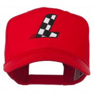 Checkered Flag Alphabet Embroidered Red High Profile Cap - L