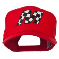 Checkered Flag Alphabet Embroidered Red High Profile Cap - M