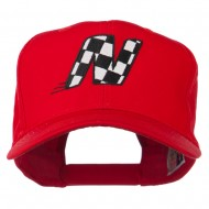 Checkered Flag Alphabet Embroidered Red High Profile Cap - N