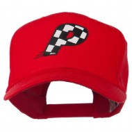 Checkered Flag Alphabet Embroidered Red High Profile Cap - P