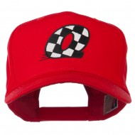 Checkered Flag Alphabet Embroidered Red High Profile Cap - Q