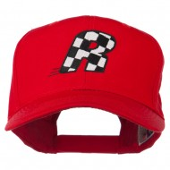 Checkered Flag Alphabet Embroidered Red High Profile Cap - R