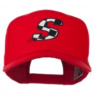 Checkered Flag Alphabet Embroidered Red High Profile Cap - S