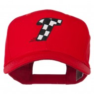 Checkered Flag Alphabet Embroidered Red High Profile Cap - T