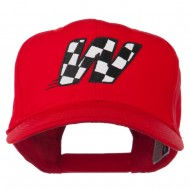 Checkered Flag Alphabet Embroidered Red High Profile Cap - W