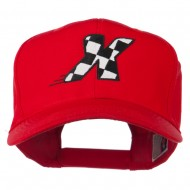 Checkered Flag Alphabet Embroidered Red High Profile Cap - X