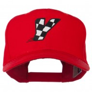 Checkered Flag Alphabet Embroidered Red High Profile Cap - Y