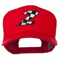 Checkered Flag Alphabet Embroidered Red High Profile Cap - Z