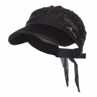 Wrinkle Roll Up Sun Scarf Visor - Black