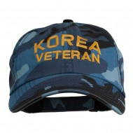 Korea Veteran Embroidered Enzyme Washed Cap - Sky