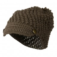 Woman's Knotted Woven Soft Brim Beanie - Mocha