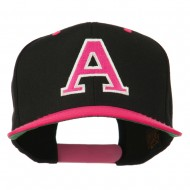 Large A Embroidered Snapback Cap - Pink Black