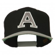Large A Embroidered Snapback Cap - Black Silver