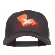 Louisiana Pelican State Embroidered Mesh Cap - Charcoal