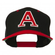 Large A Embroidered Snapback Cap - Red Black